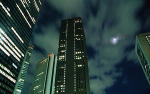 Moon Between Skyscrapers
