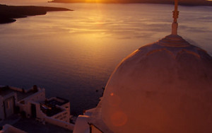 Church And Sunset In Santorini