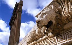 A Lion And Six Columns In Baalbek