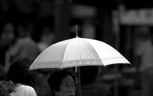 白い傘の老婆