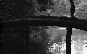 六義園の橋の上のシルエット