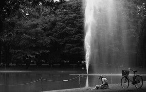 Woman Reading Books Near The Fountain