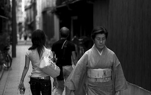 Woman In Japanese Dress In The Lane