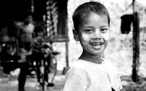Smiling Boy Painted His Cheeks With Thanaka