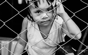 Girl Stares On The Other Side Of The Wire Netting