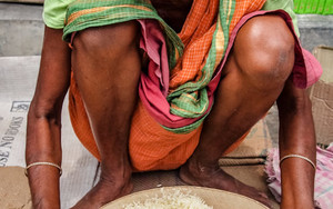 Rice, Sieve And Woman