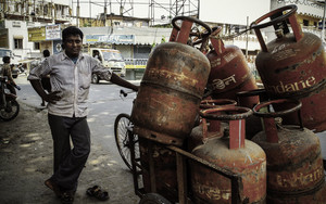 Man And Gas Cylinders