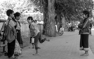Girls Playing Chinese Jump Rope