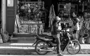 Motorbike In Front Of A Shop