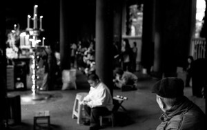 Old Man Sitting In Longshan Temple