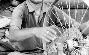 車輪と額の広い男