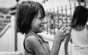 Little Girl With Short Hair Smiled