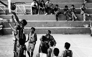 バスケットの下の選手たち