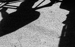 車輪と脚の影