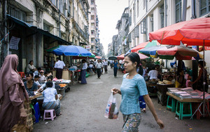Pony-tailed Woman And Street Booths