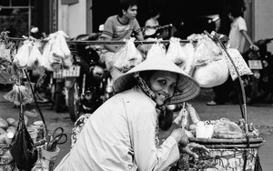 Street Vendor And Her Carrying Pole