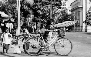 Umbrella, Bicycle And Woman