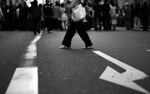 Woman In Middle Of Street