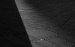 長い影の横の男