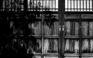 木の扉に影