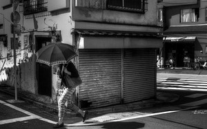 Umbrella Passing By The Shutter