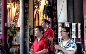 Worshipers In Taiwan Fu City God Temple