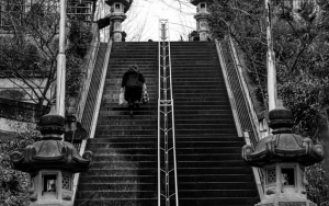 Steep Stairway Of Shinto Shrine