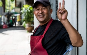 Red Apron And Peace Sign
