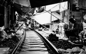 Railroad In The Center Of The Market