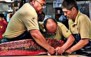 Three Men Cutting Tuna